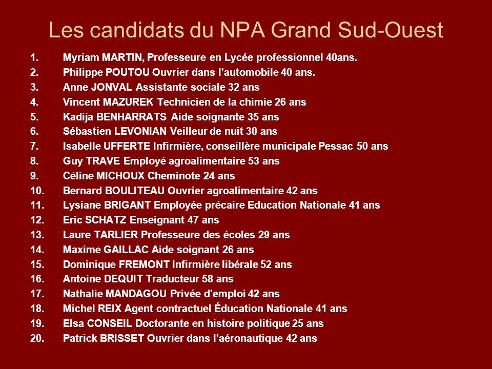 Les candidats du NPA Grand Sud-Ouest