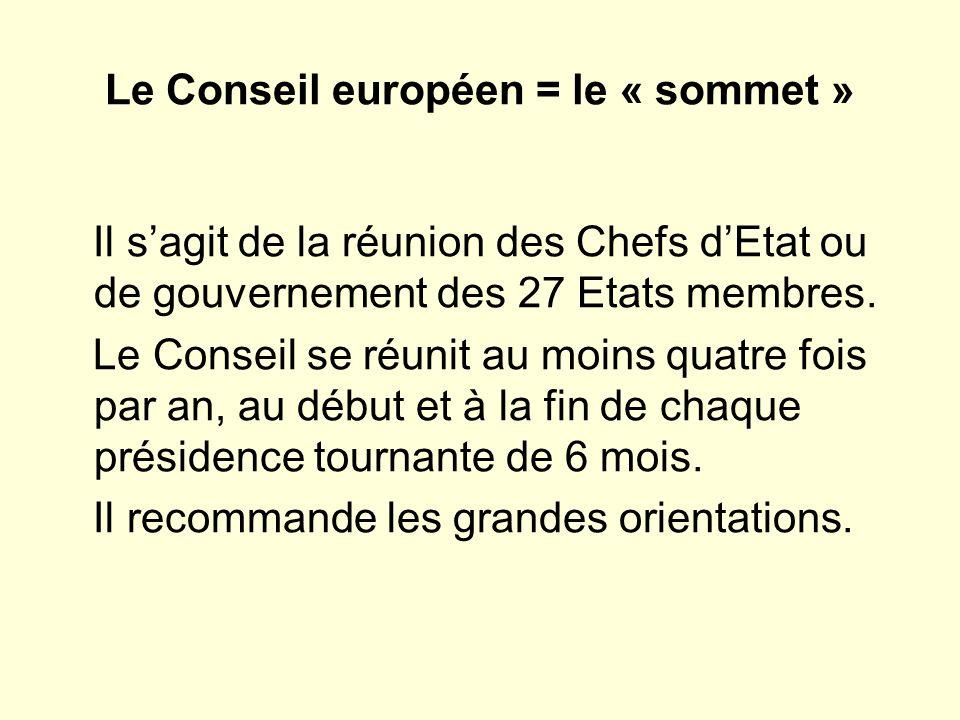 Le Conseil européen = le « sommet »