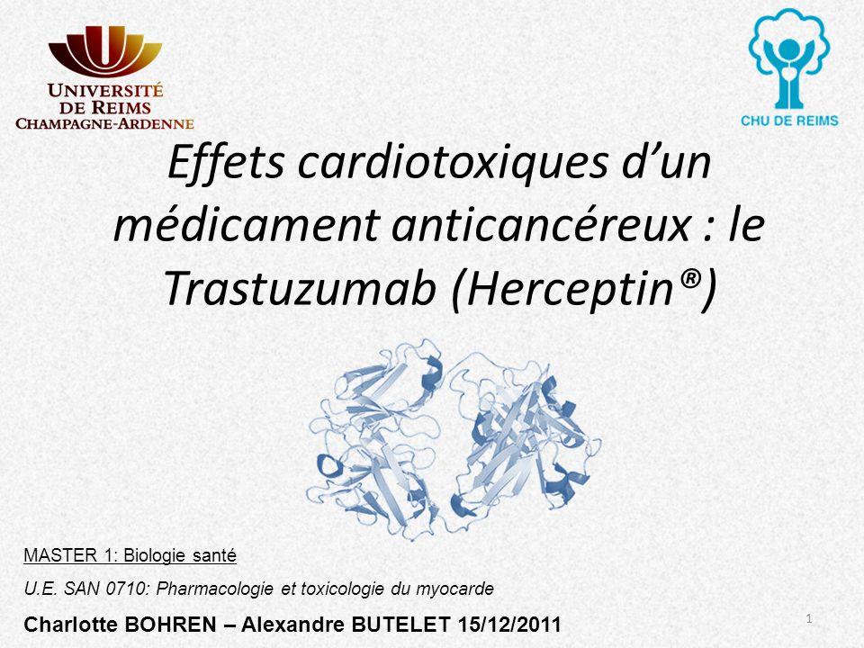 Effets cardiotoxiques d'un médicament anticancéreux : le Trastuzumab (Herceptin®)