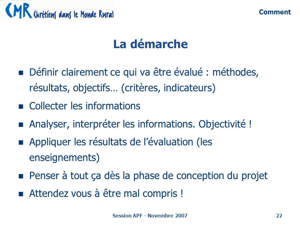Comment La démarche. Définir clairement ce qui va être évalué : méthodes, résultats, objectifs… (critères, indicateurs)