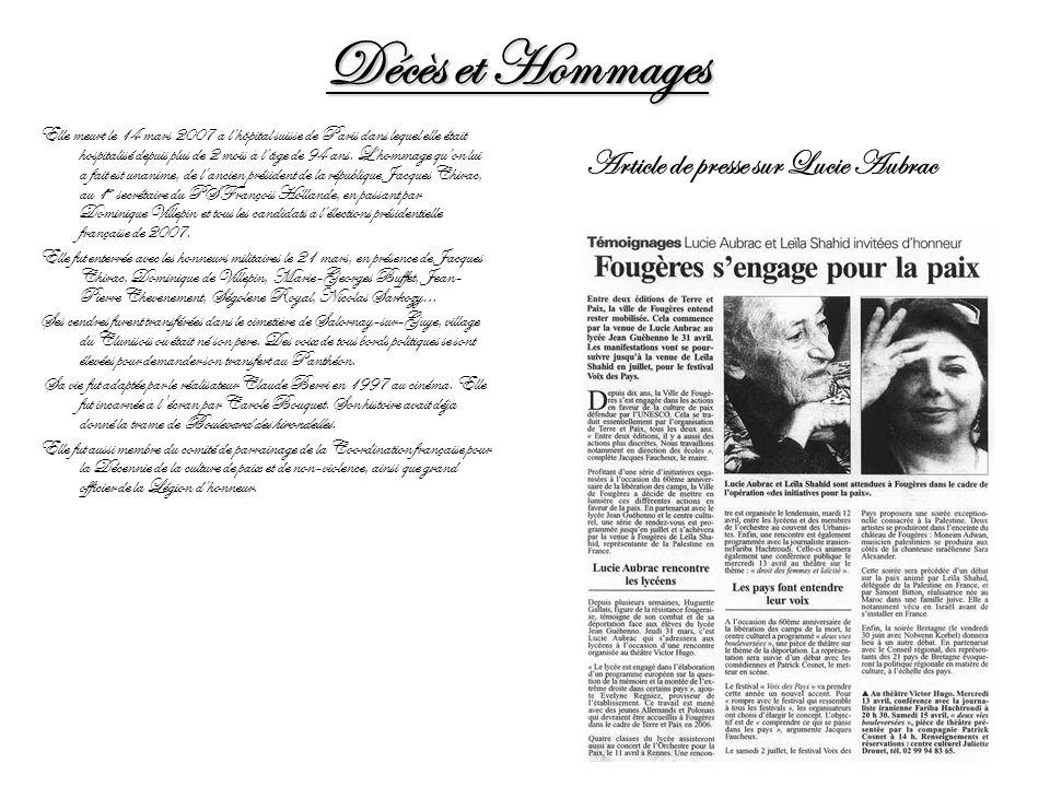 Décès et Hommages Article de presse sur Lucie Aubrac