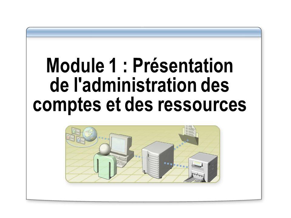 Module 1 : Présentation de l administration des comptes et des ressources