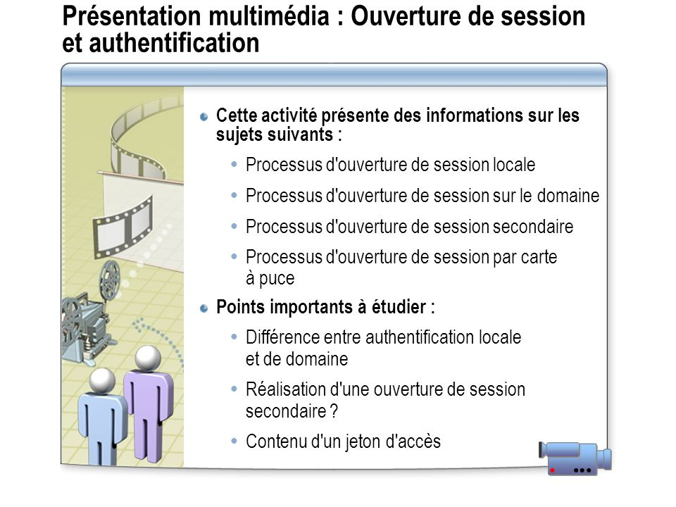 Présentation multimédia : Ouverture de session et authentification