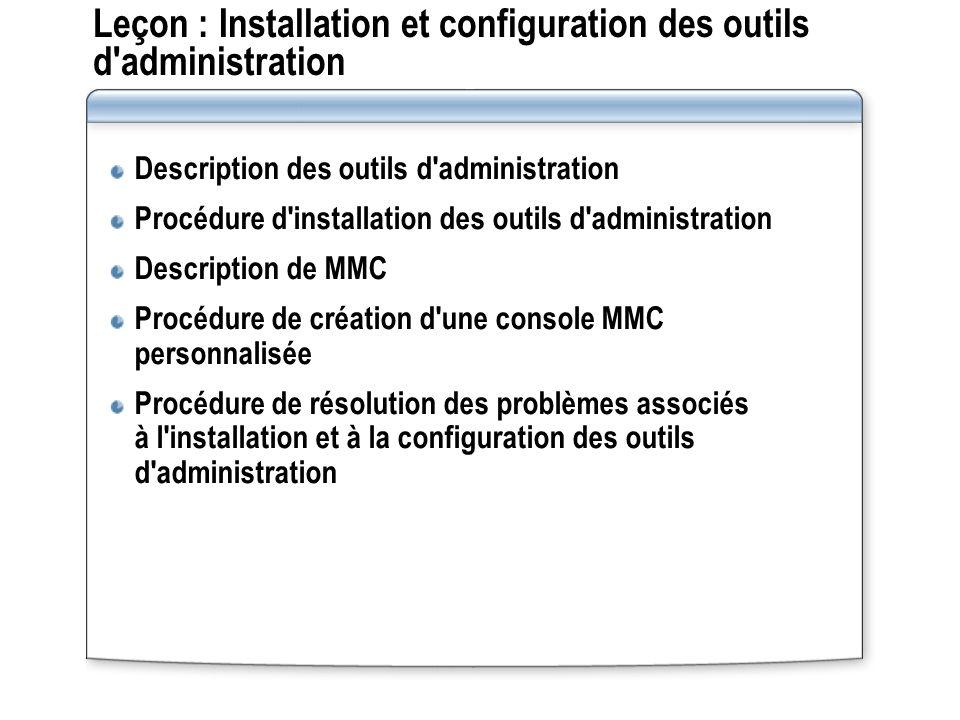 Leçon : Installation et configuration des outils d administration