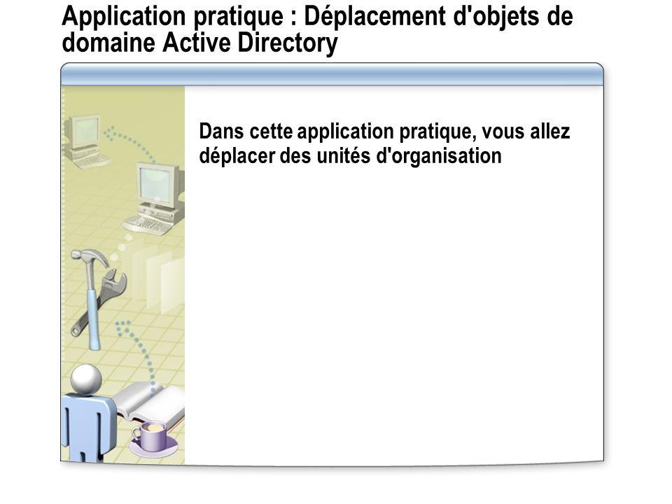 Application pratique : Déplacement d objets de domaine Active Directory