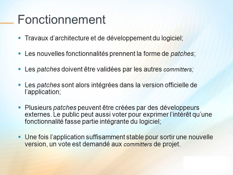 Fonctionnement Travaux d'architecture et de développement du logiciel;