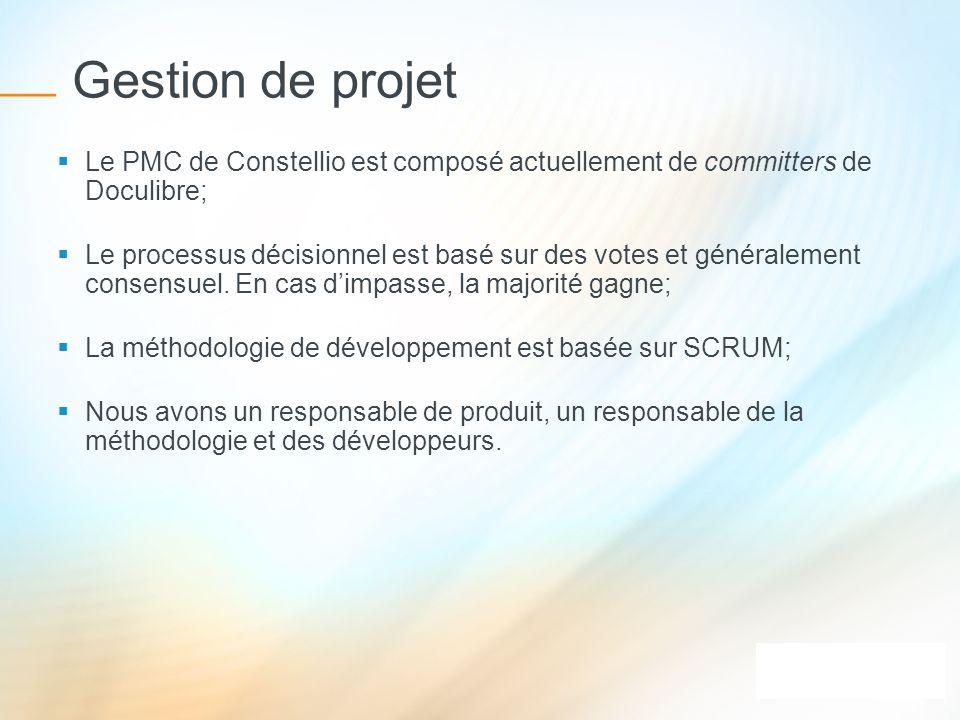 Gestion de projet Le PMC de Constellio est composé actuellement de committers de Doculibre;