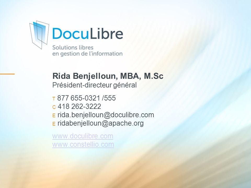 Rida Benjelloun, MBA, M.Sc Président-directeur général
