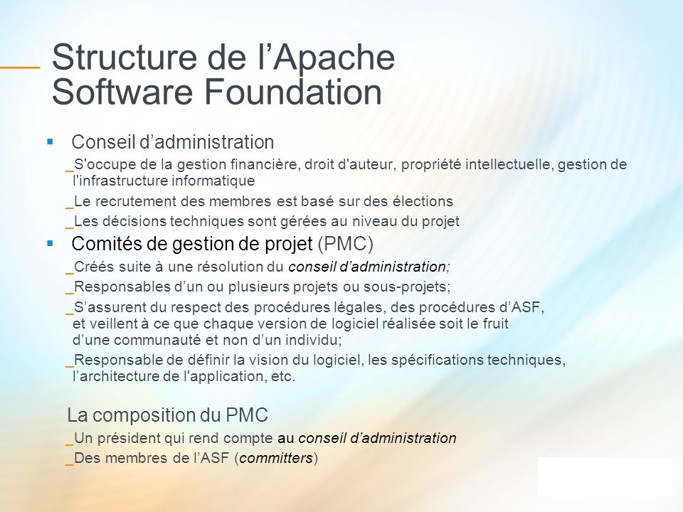 Structure de l'Apache Software Foundation