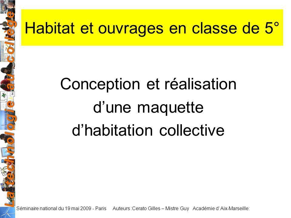 Habitat et ouvrages en classe de 5°