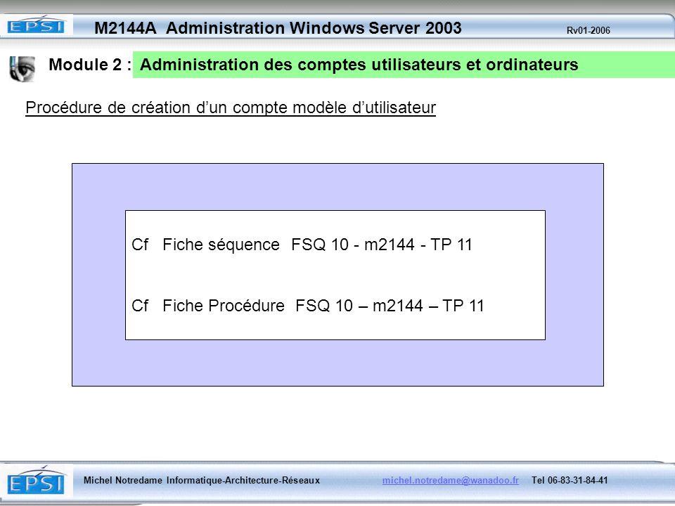 Module 2 : Administration des comptes utilisateurs et ordinateurs. Procédure de création d'un compte modèle d'utilisateur.