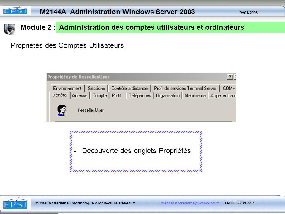 Module 2 : Administration des comptes utilisateurs et ordinateurs. Propriétés des Comptes Utilisateurs.