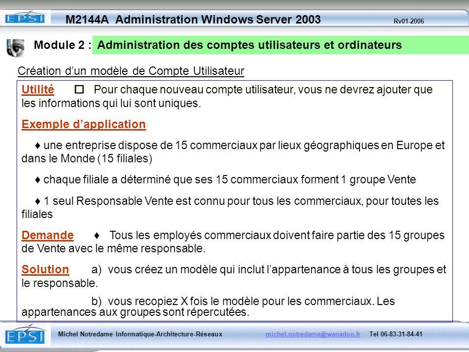 Module 2 : Administration des comptes utilisateurs et ordinateurs. Création d'un modèle de Compte Utilisateur.