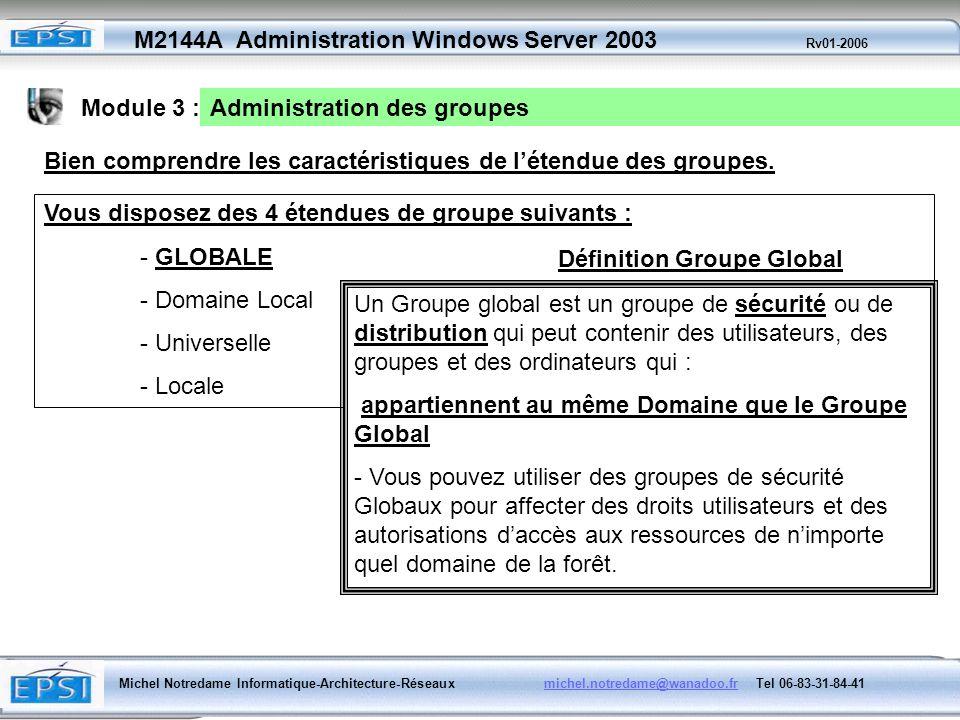 Module 3 : Administration des groupes. Bien comprendre les caractéristiques de l'étendue des groupes.