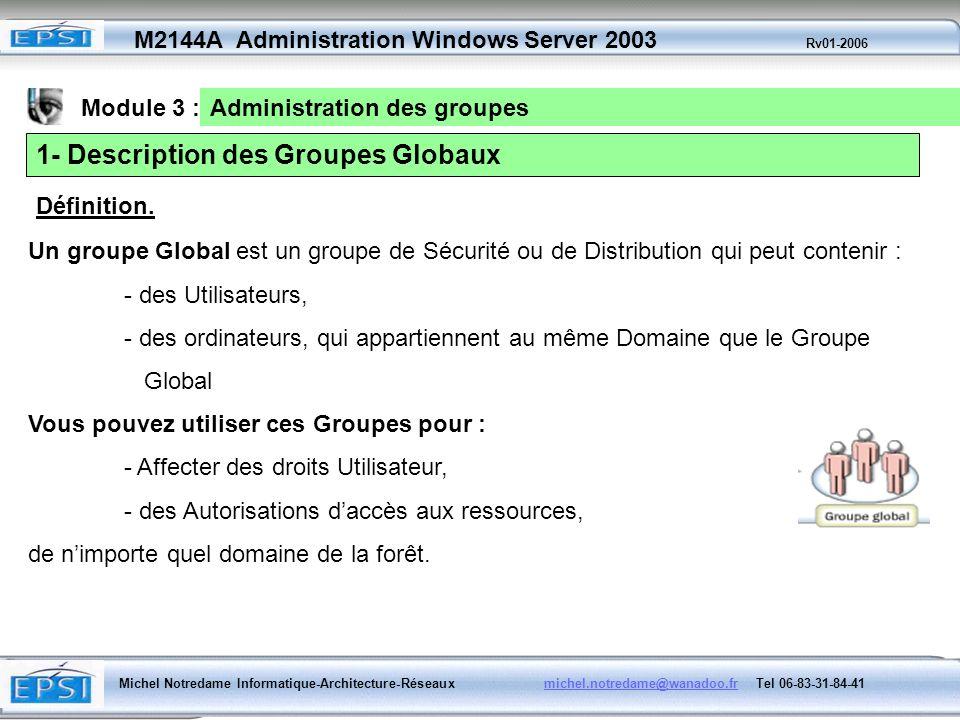 1- Description des Groupes Globaux