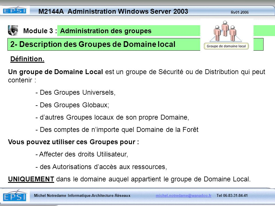 2- Description des Groupes de Domaine local