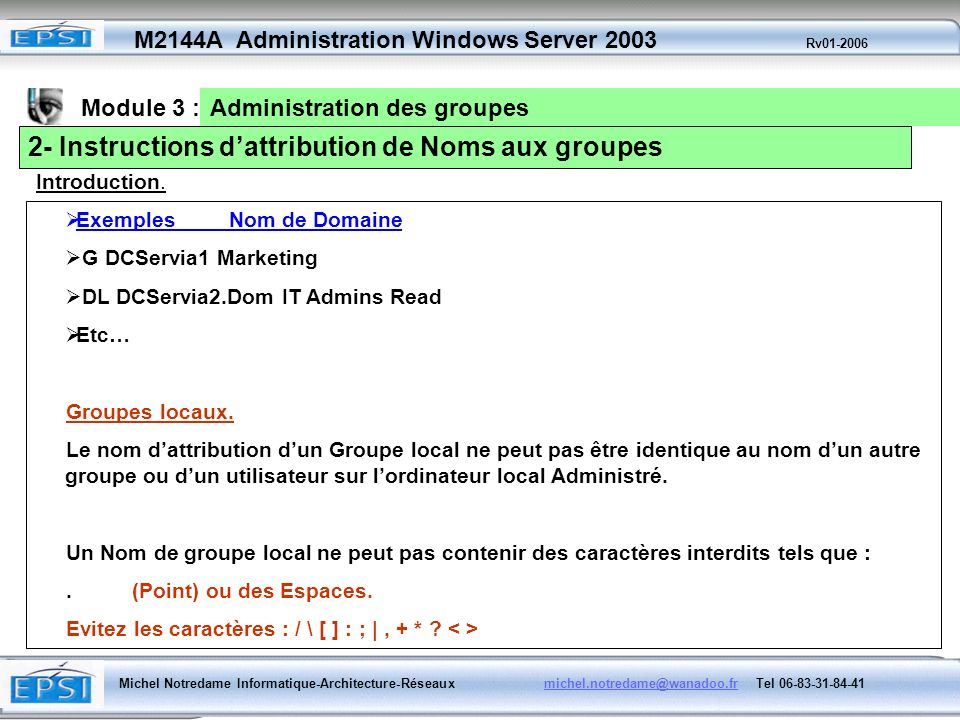 2- Instructions d'attribution de Noms aux groupes