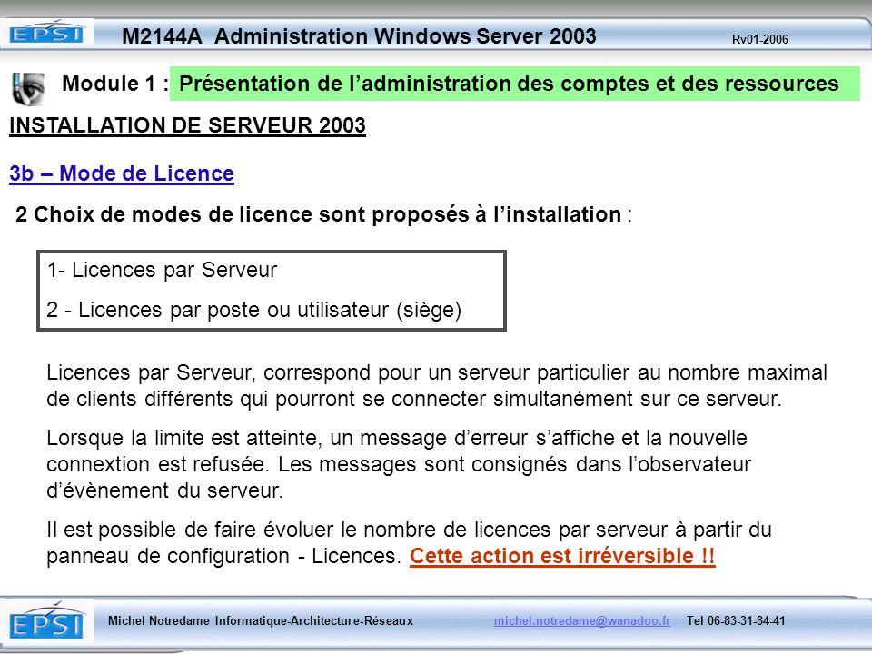 Module 1 :Présentation de l'administration des comptes et des ressources. INSTALLATION DE SERVEUR 2003.