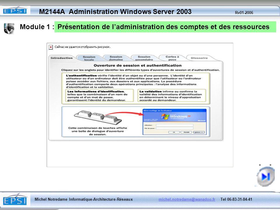 Module 1 : Présentation de l'administration des comptes et des ressources