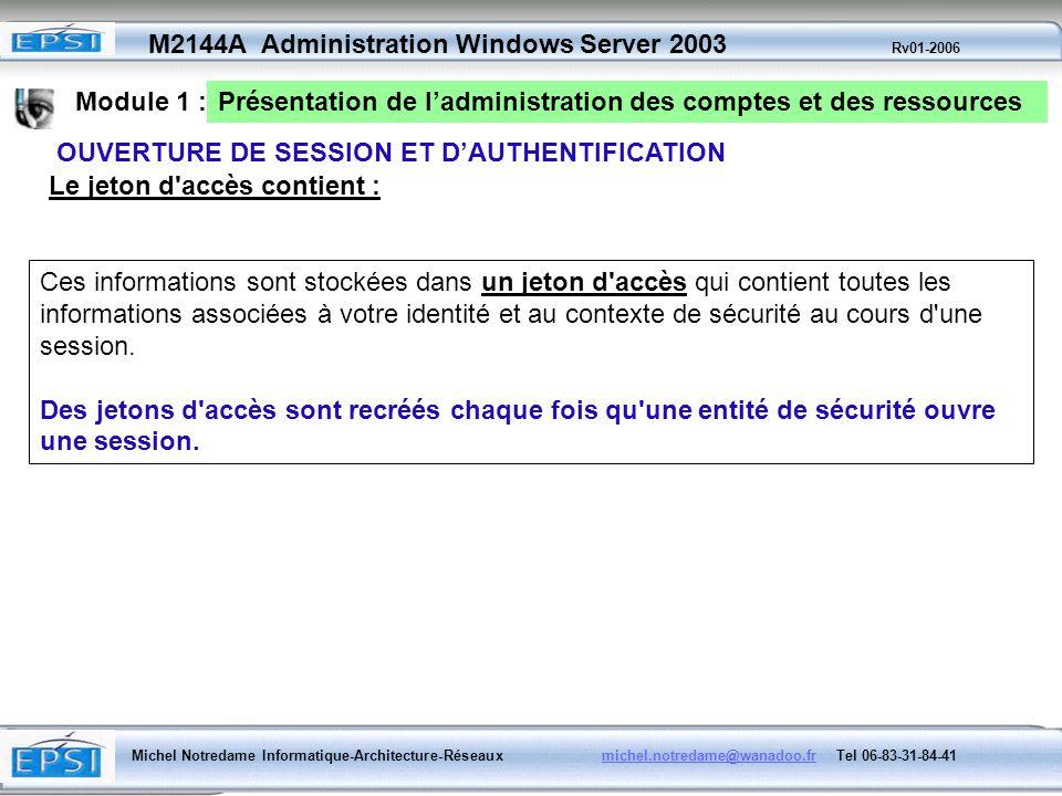 Module 1 :Présentation de l'administration des comptes et des ressources. OUVERTURE DE SESSION ET D'AUTHENTIFICATION.