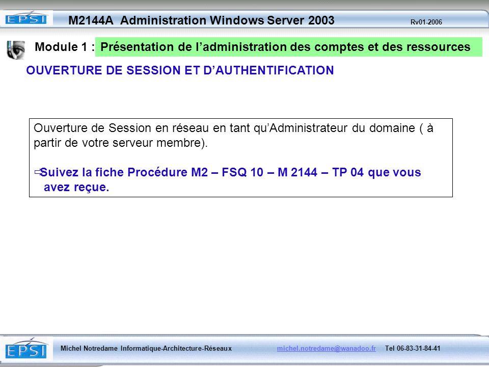 Module 1 : Présentation de l'administration des comptes et des ressources. OUVERTURE DE SESSION ET D'AUTHENTIFICATION.