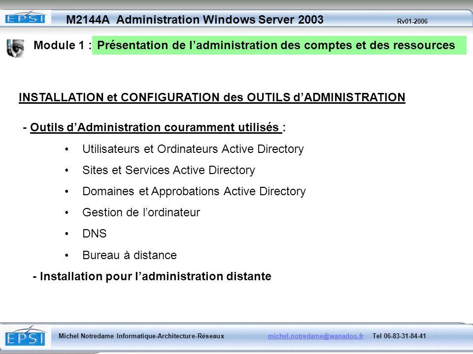 Module 1 :Présentation de l'administration des comptes et des ressources. INSTALLATION et CONFIGURATION des OUTILS d'ADMINISTRATION.