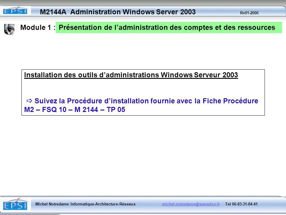 Module 1 : Présentation de l'administration des comptes et des ressources. Installation des outils d'administrations Windows Serveur 2003.