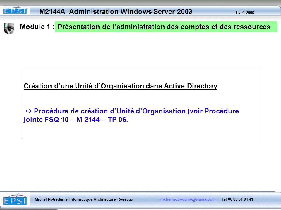 Module 1 :Présentation de l'administration des comptes et des ressources. Création d'une Unité d'Organisation dans Active Directory.