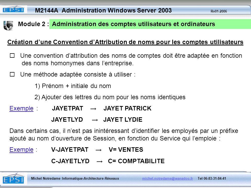 Module 2 : Administration des comptes utilisateurs et ordinateurs. Création d'une Convention d'Attribution de noms pour les comptes utilisateurs.
