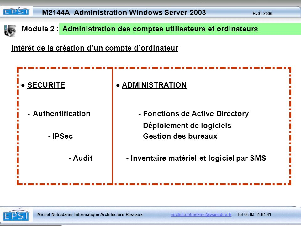 - Fonctions de Active Directory