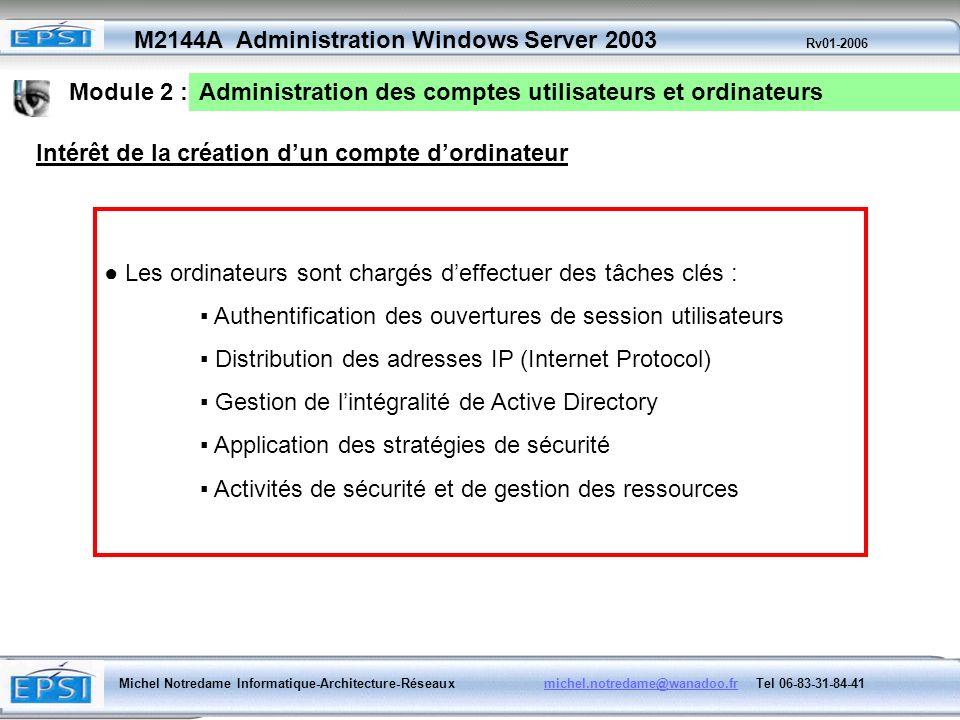 Module 2 : Administration des comptes utilisateurs et ordinateurs. Intérêt de la création d'un compte d'ordinateur.