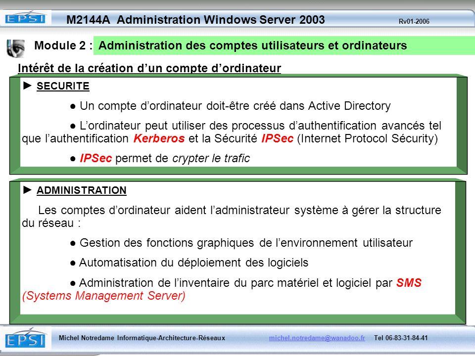 Module 2 :Administration des comptes utilisateurs et ordinateurs. Intérêt de la création d'un compte d'ordinateur.