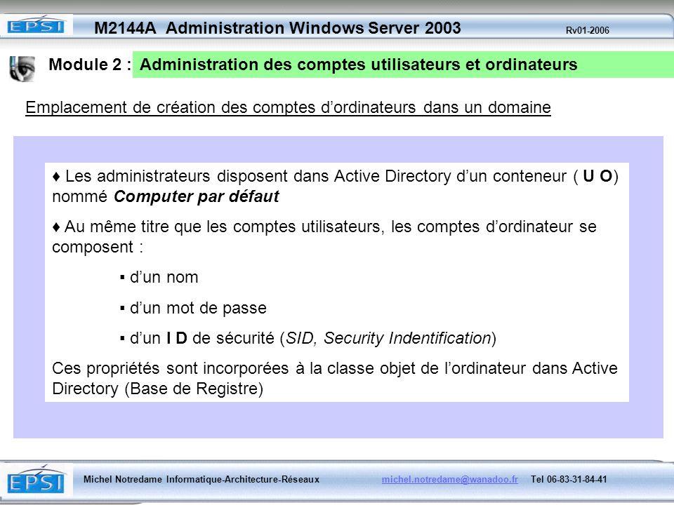 Module 2 : Administration des comptes utilisateurs et ordinateurs. Emplacement de création des comptes d'ordinateurs dans un domaine.