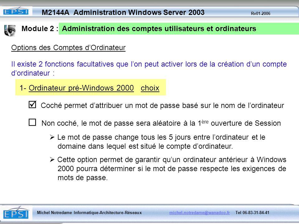 1- Ordinateur pré-Windows 2000 choix