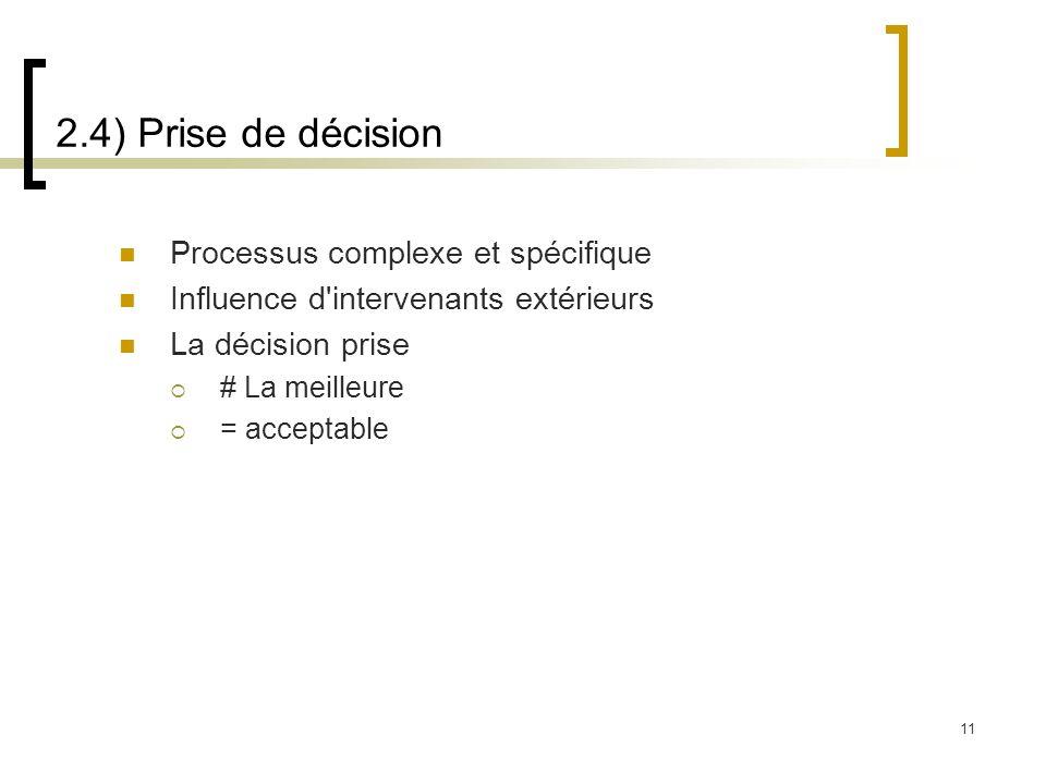 2.4) Prise de décision Processus complexe et spécifique