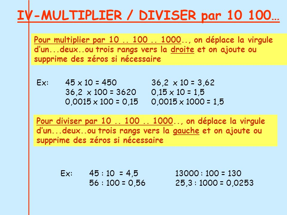 IV-MULTIPLIER / DIVISER par 10 100…