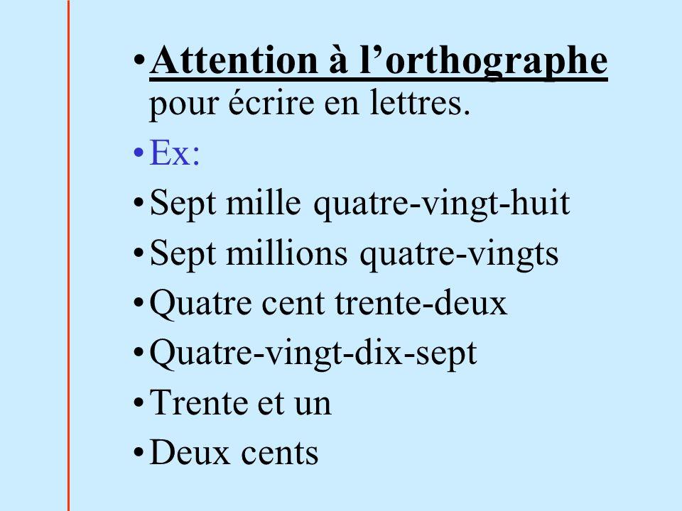 Attention à l'orthographe pour écrire en lettres.