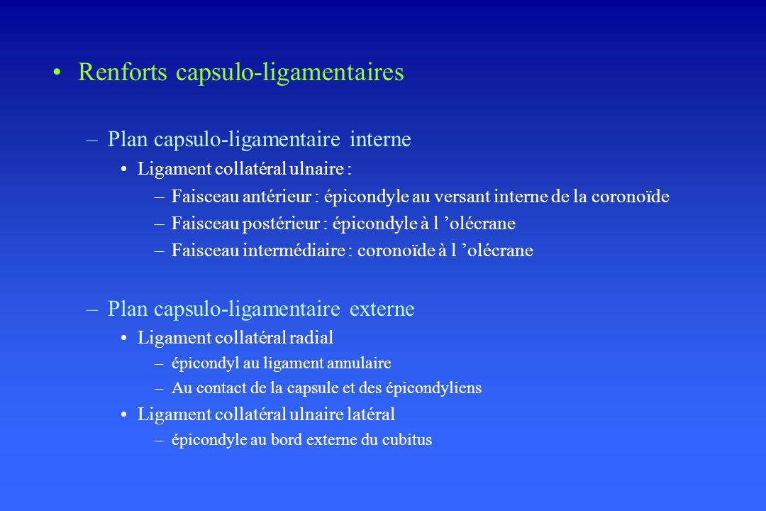 Renforts capsulo-ligamentaires