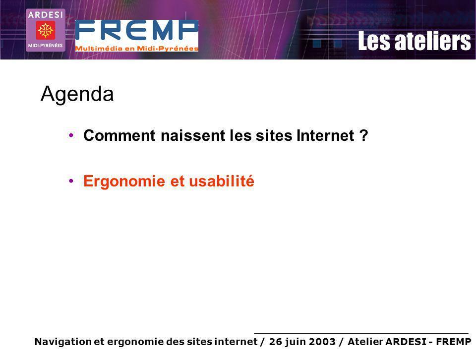 Agenda Comment naissent les sites Internet Ergonomie et usabilité