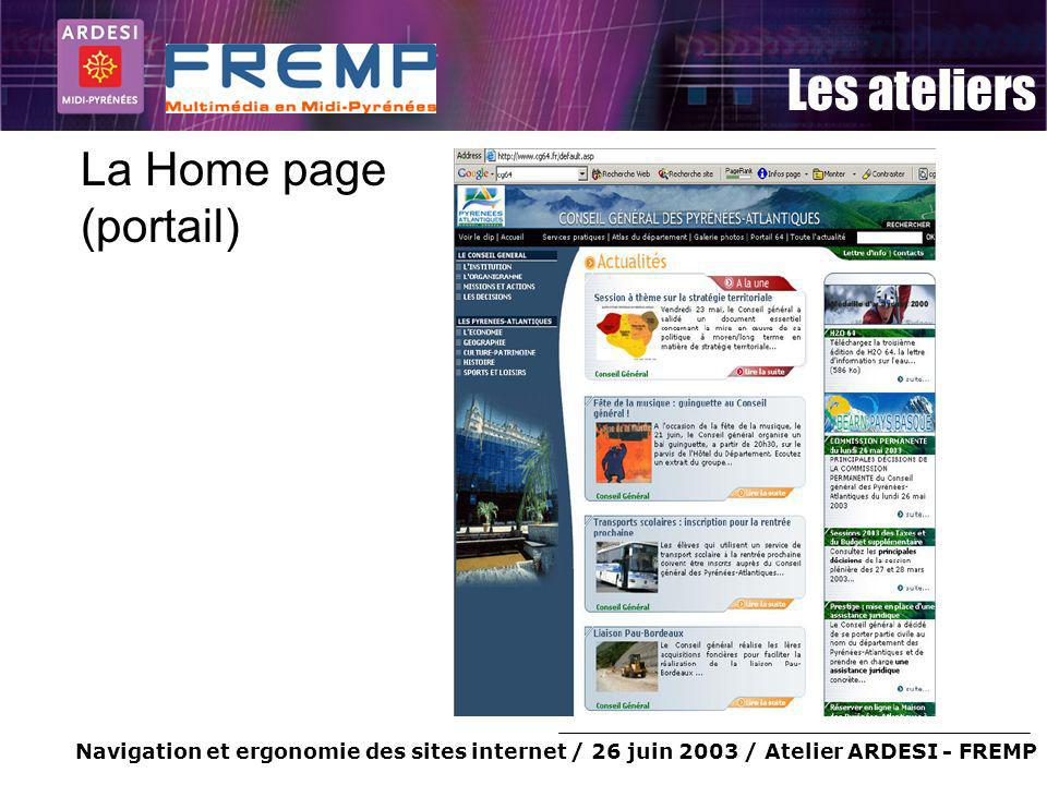 La Home page (portail)