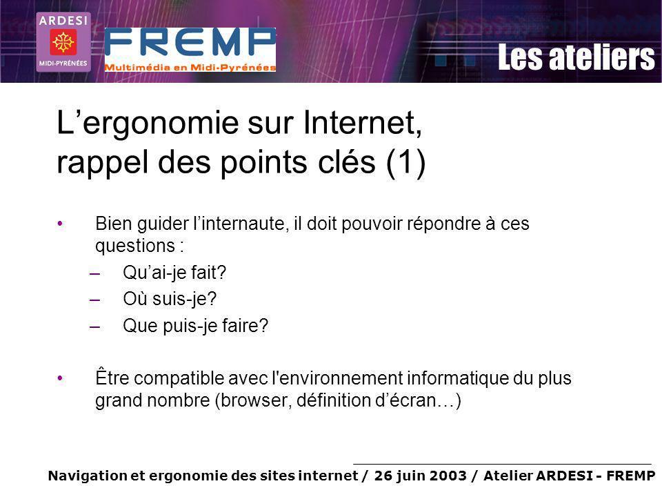L'ergonomie sur Internet, rappel des points clés (1)