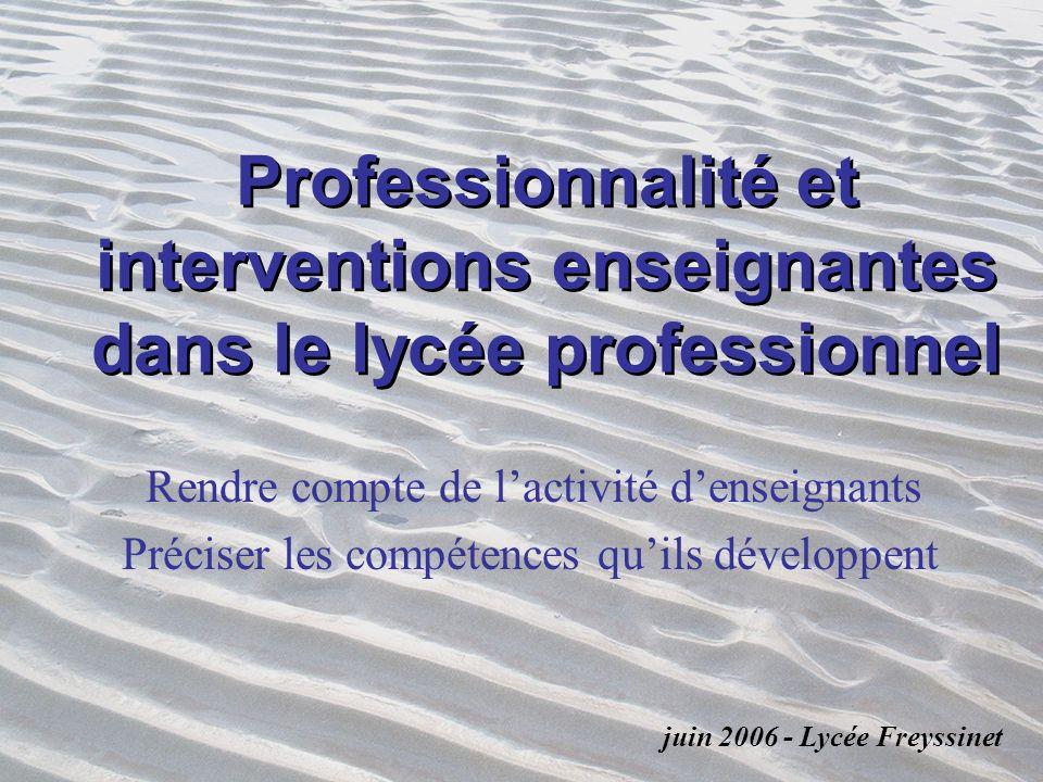 Professionnalité et interventions enseignantes dans le lycée professionnel