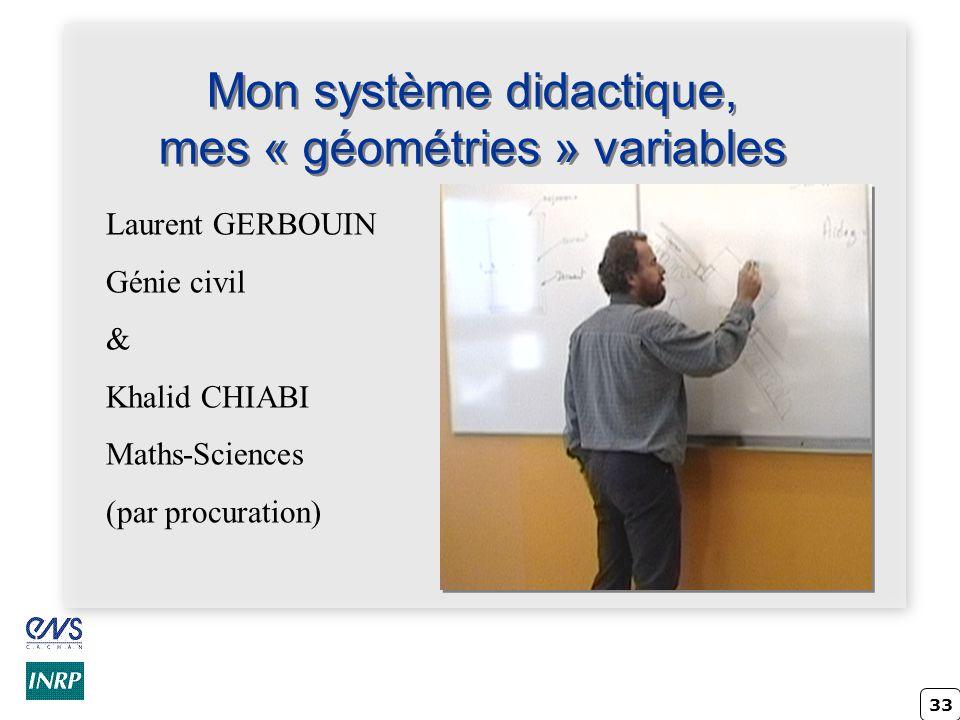 Mon système didactique, mes « géométries » variables