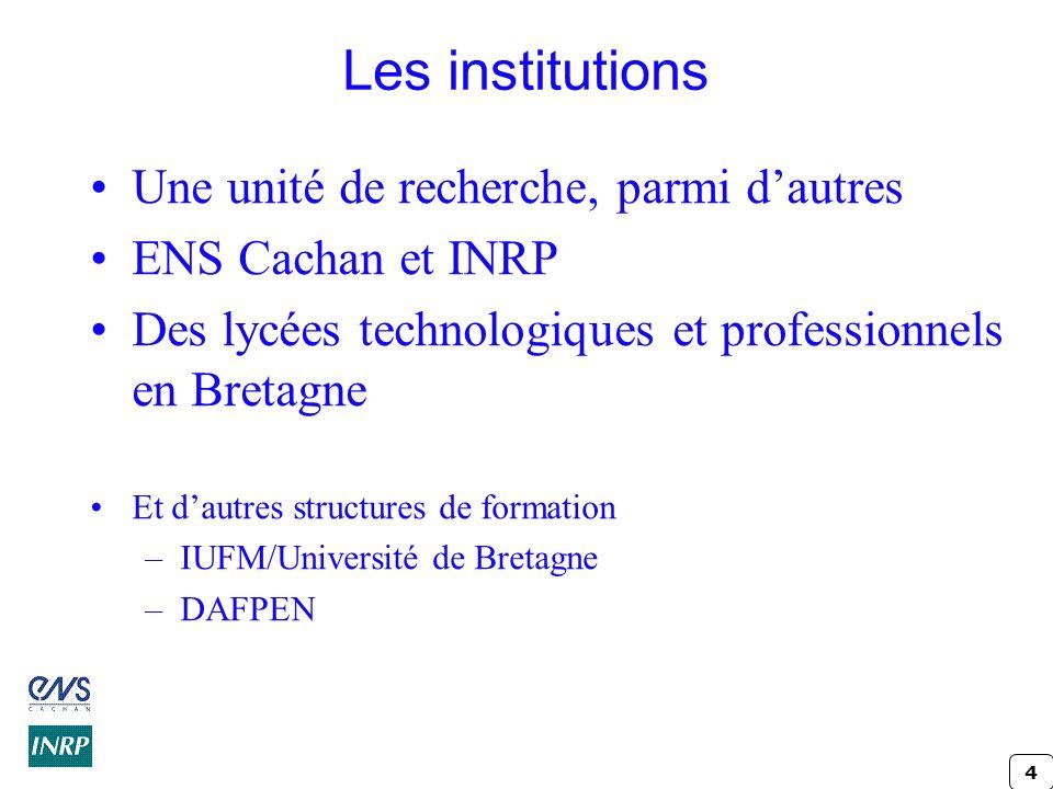 Les institutions Une unité de recherche, parmi d'autres