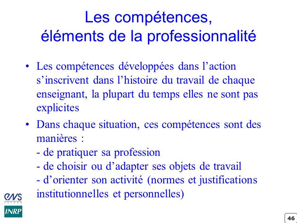 Les compétences, éléments de la professionnalité