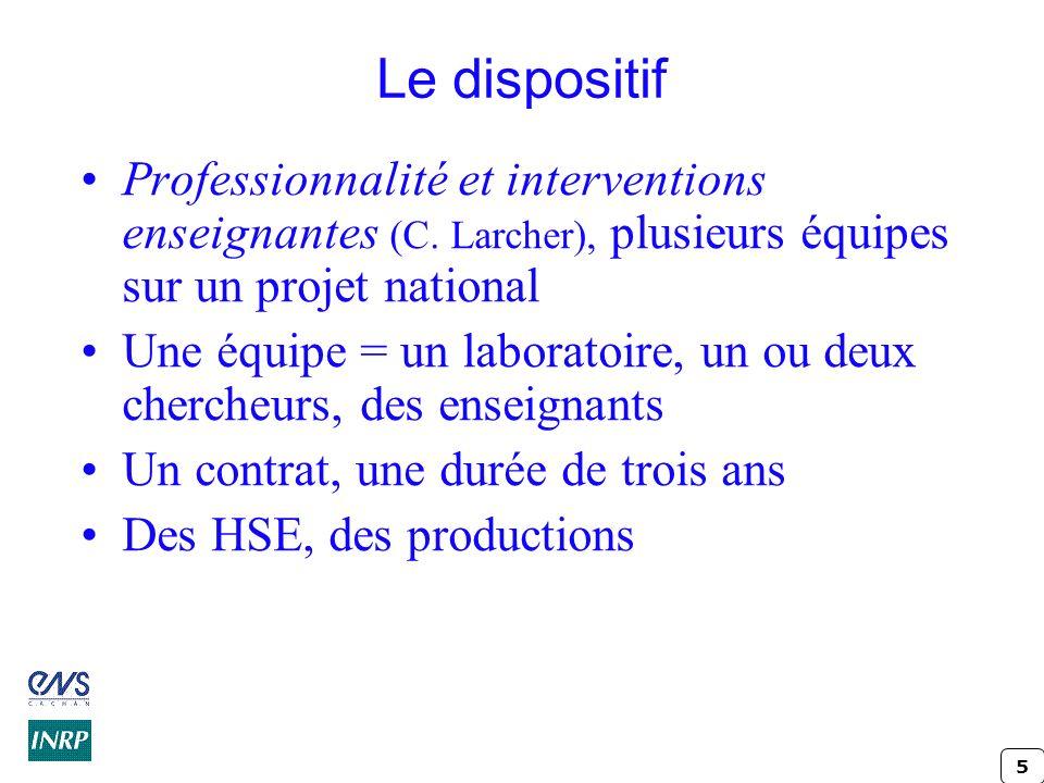 Le dispositif Professionnalité et interventions enseignantes (C. Larcher), plusieurs équipes sur un projet national.