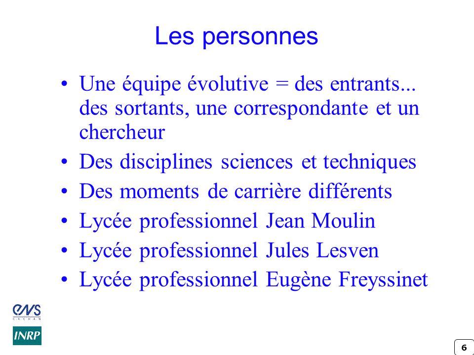 Les personnes Une équipe évolutive = des entrants... des sortants, une correspondante et un chercheur.