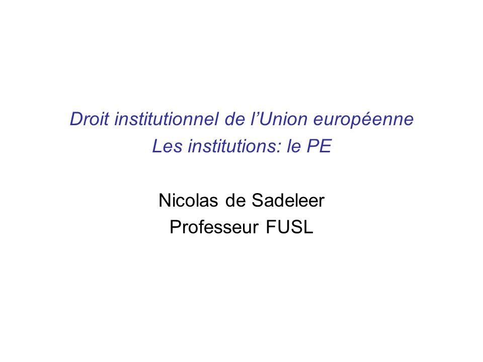 Droit institutionnel de l'Union européenne Les institutions: le PE