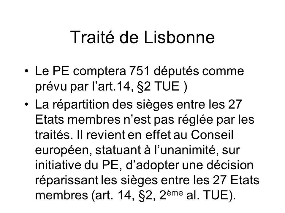 Traité de Lisbonne Le PE comptera 751 députés comme prévu par l'art.14, §2 TUE )