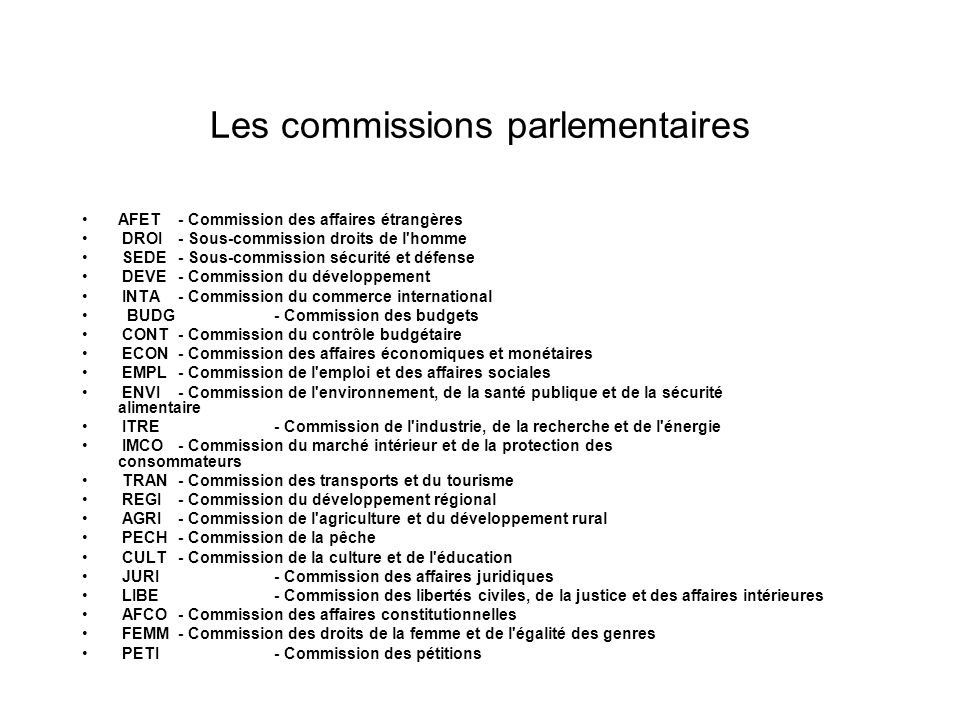 Les commissions parlementaires